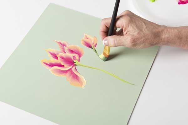 How to Paint a Parrot Tulip Stem