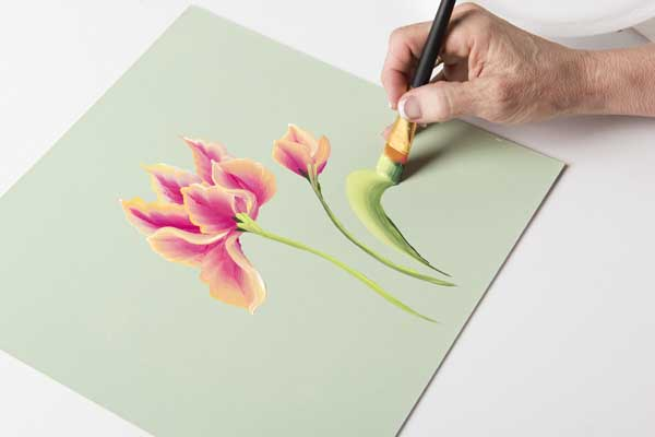 How to Paint Parrot Tulip Leaves
