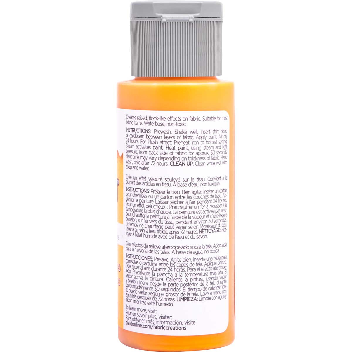 Fabric Creations™ Plush™ 3-D Fabric Paints - Orange Juice, 2 oz. - 26329