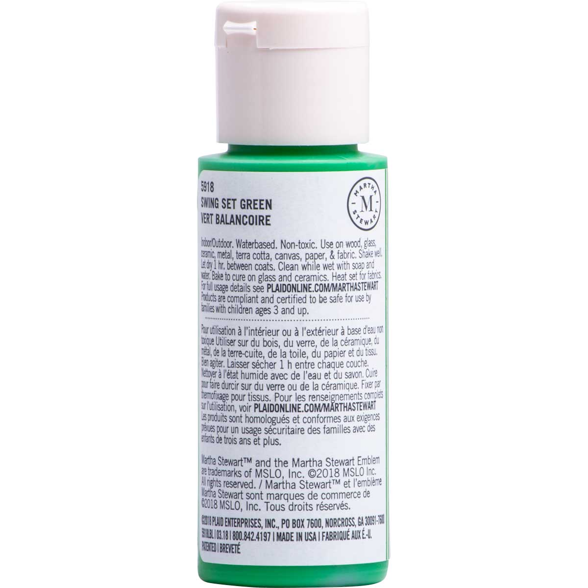 Martha Stewart ® Multi-Surface Satin Acrylic Craft Paint CPSIA - Swing Set Green, 2 oz. - 5918