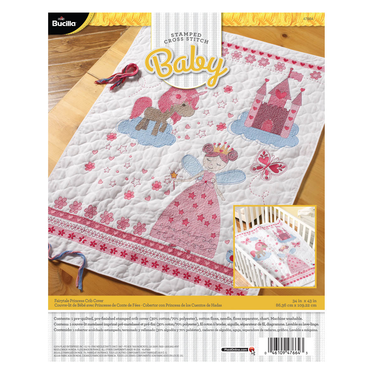 Bucilla ® Baby - Stamped Cross Stitch - Crib Ensembles - Fairytale Princess - Crib Cover