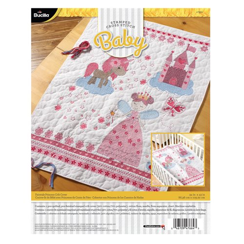 Bucilla ® Baby - Stamped Cross Stitch - Crib Ensembles - Fairytale Princess - Crib Cover - 47664
