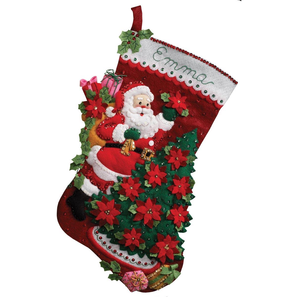 Bucilla ® Seasonal - Felt - Stocking Kits - Santa Poinsettia - 86142