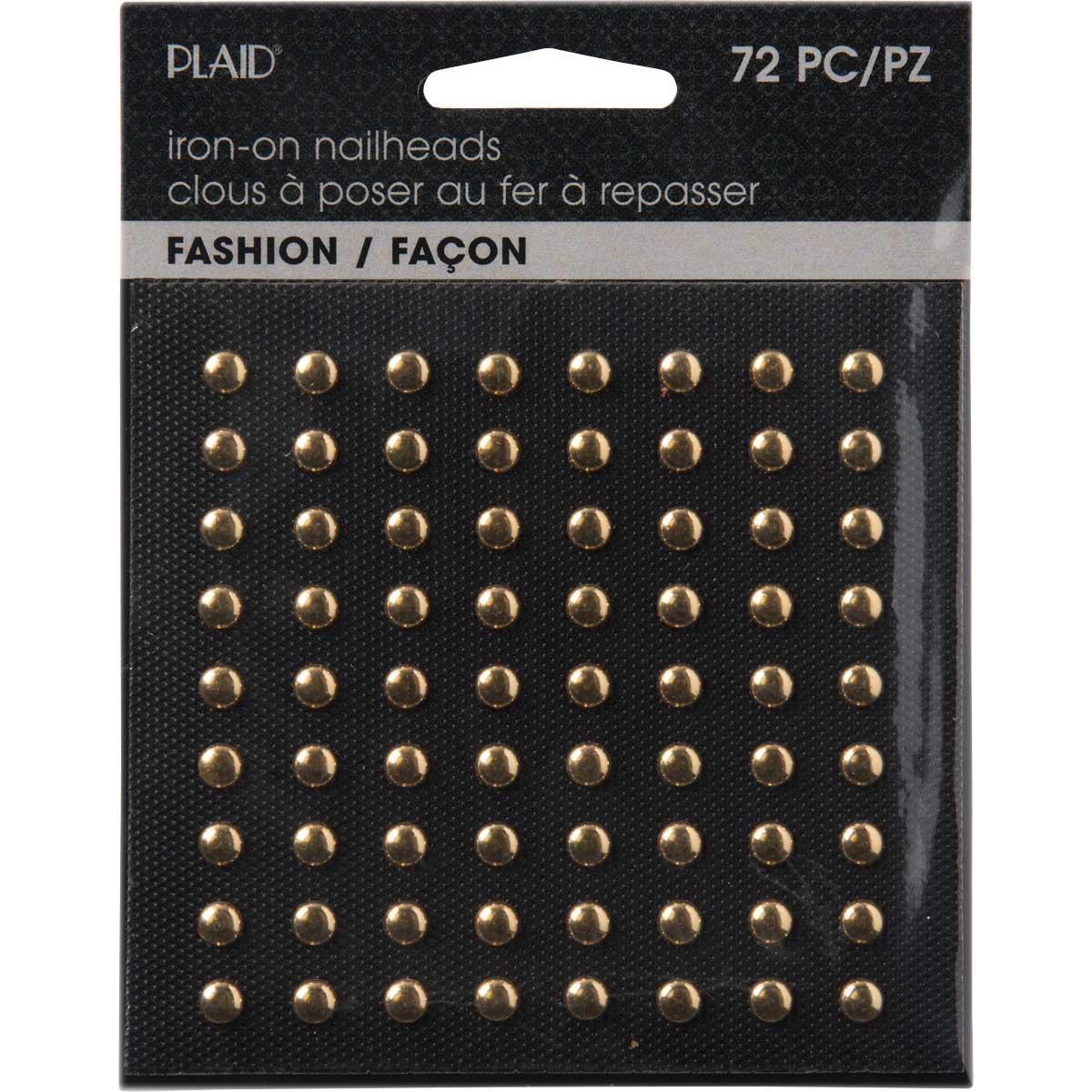 Plaid ® Hot Fix Nailhead Iron-Ons - Round Shiny Gold