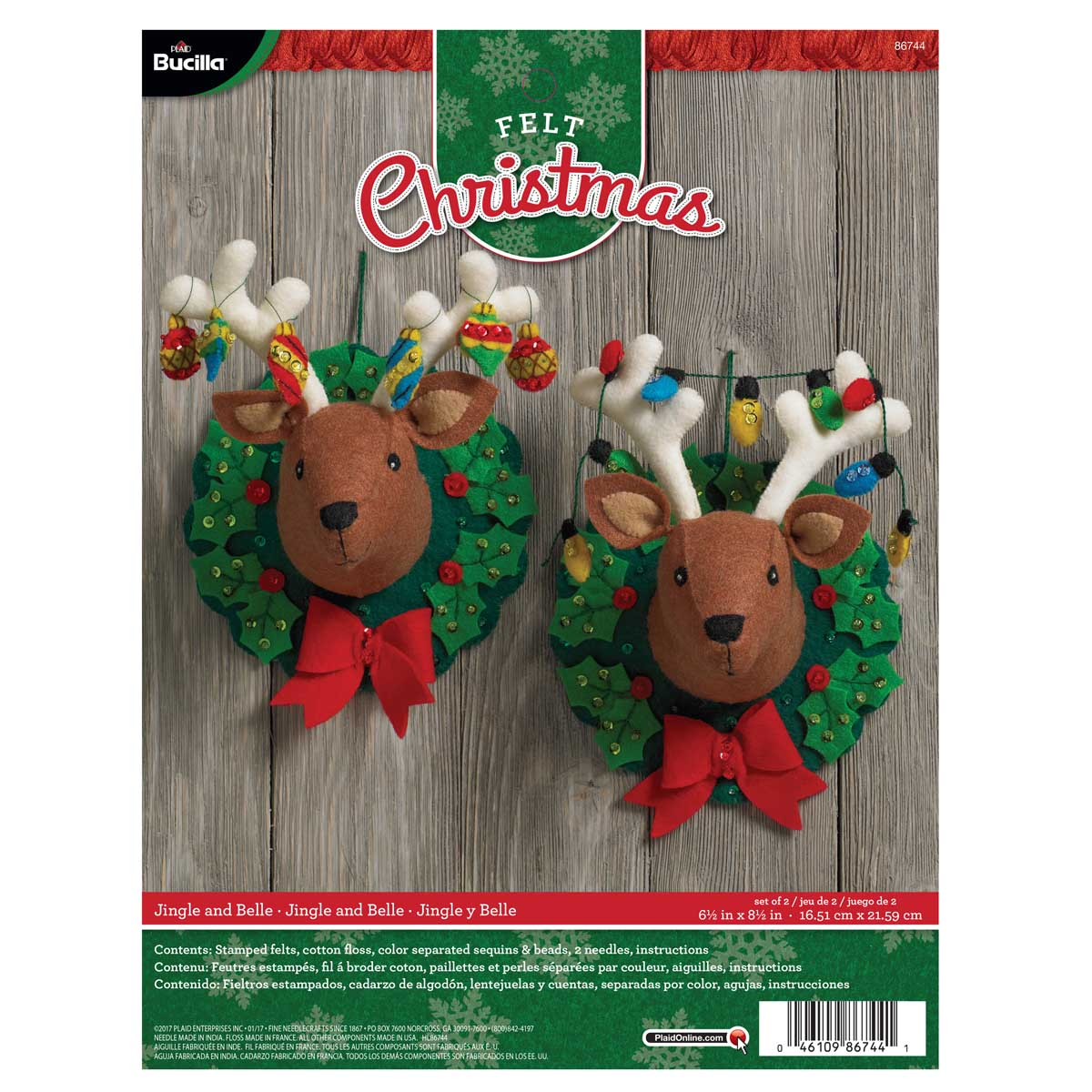 Bucilla ® Seasonal - Felt - Home Decor - Jingle and Belle 3D Wall Hanging