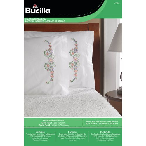 Bucilla ® Stamped Cross Stitch & Embroidery - Pillowcase Pairs - Floral Scroll