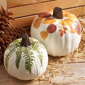 Leaf Decoupage on Pumpkin