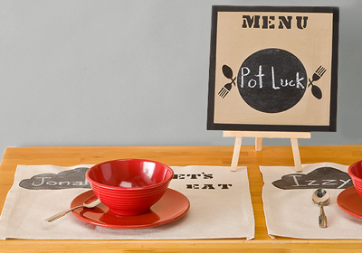 Handmade Charlotte Chalkboard Menu and Placemats