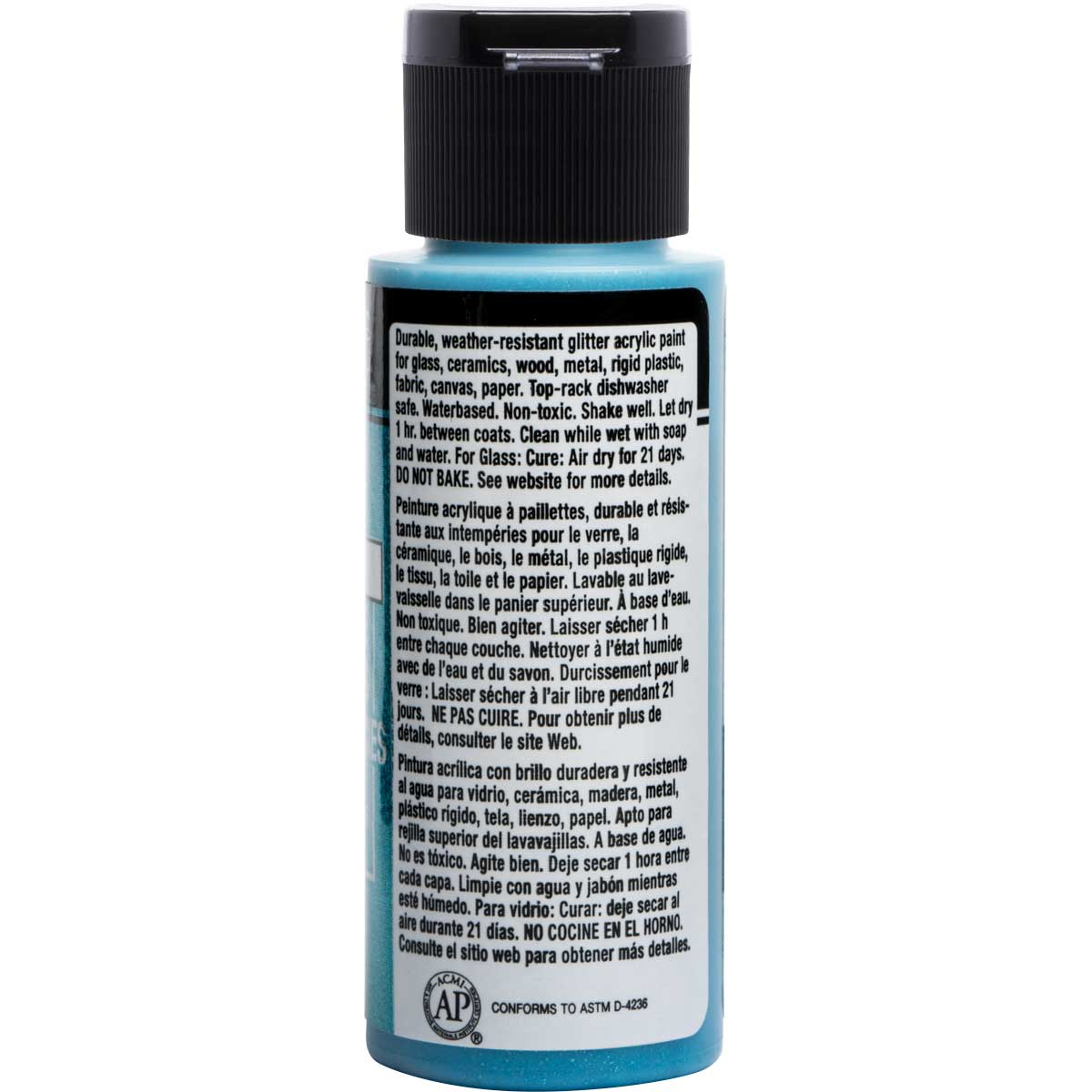 FolkArt ® Multi-Surface Glitter Acrylic Paints - Turquoise, 2 oz. - 2992
