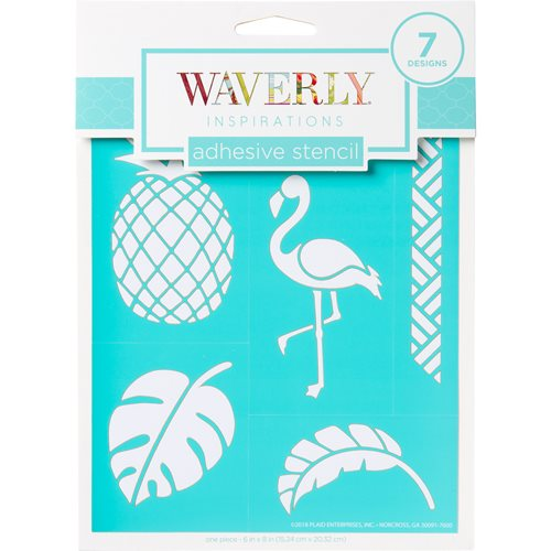 "Waverly ® Inspirations Laser-cut Adhesive Stencils - Tropical, 6"" x 8"" - 60963E"