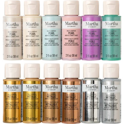 Martha Stewart ® Multi-Surface Metallic and Pearl Acrylic Craft Paint 12-Color Best of Paint Set - M