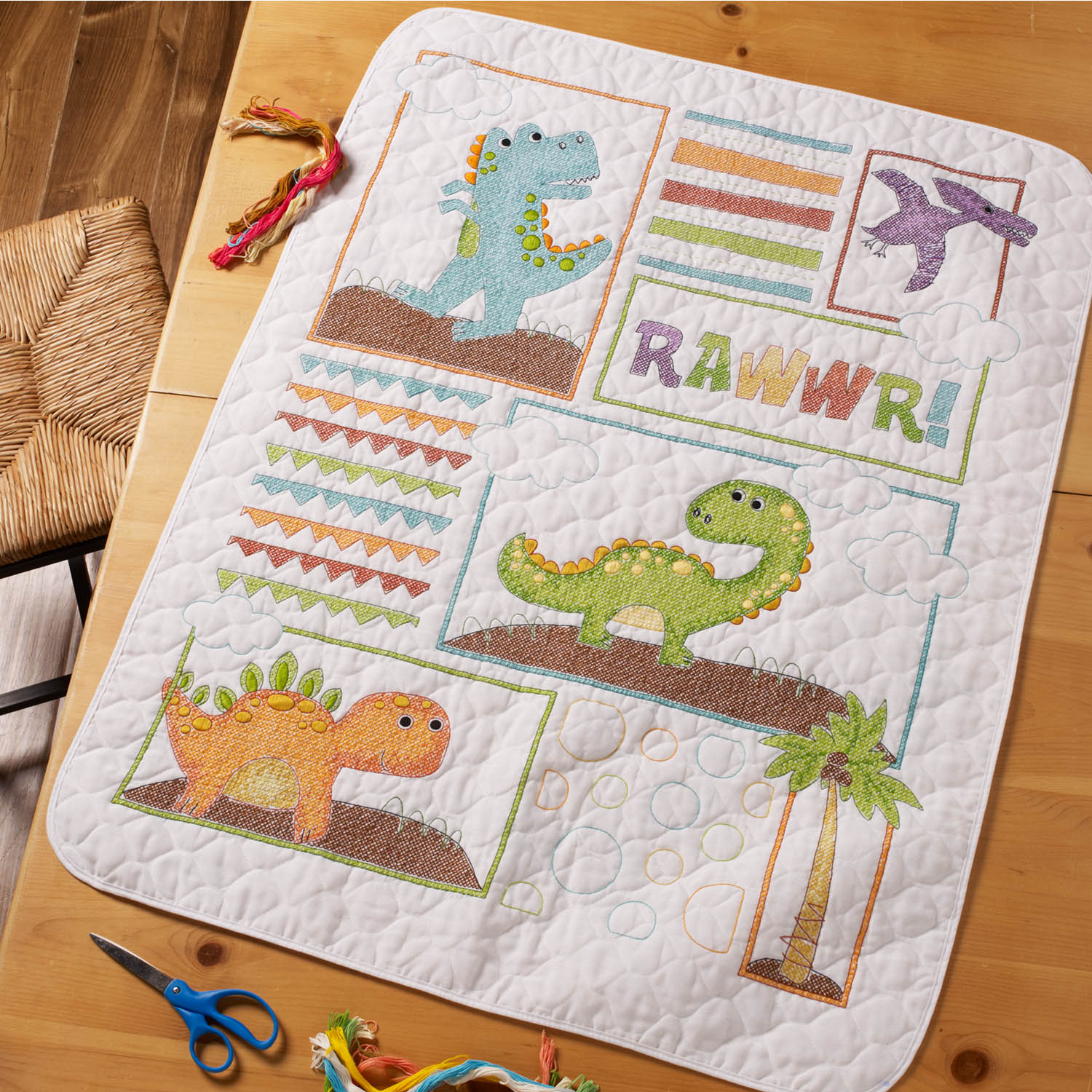Bucilla ® Baby - Stamped Cross Stitch - Crib Ensembles - Dino Baby - Crib Cover