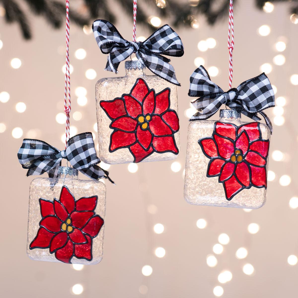 Christmas Poinsettia Ornaments