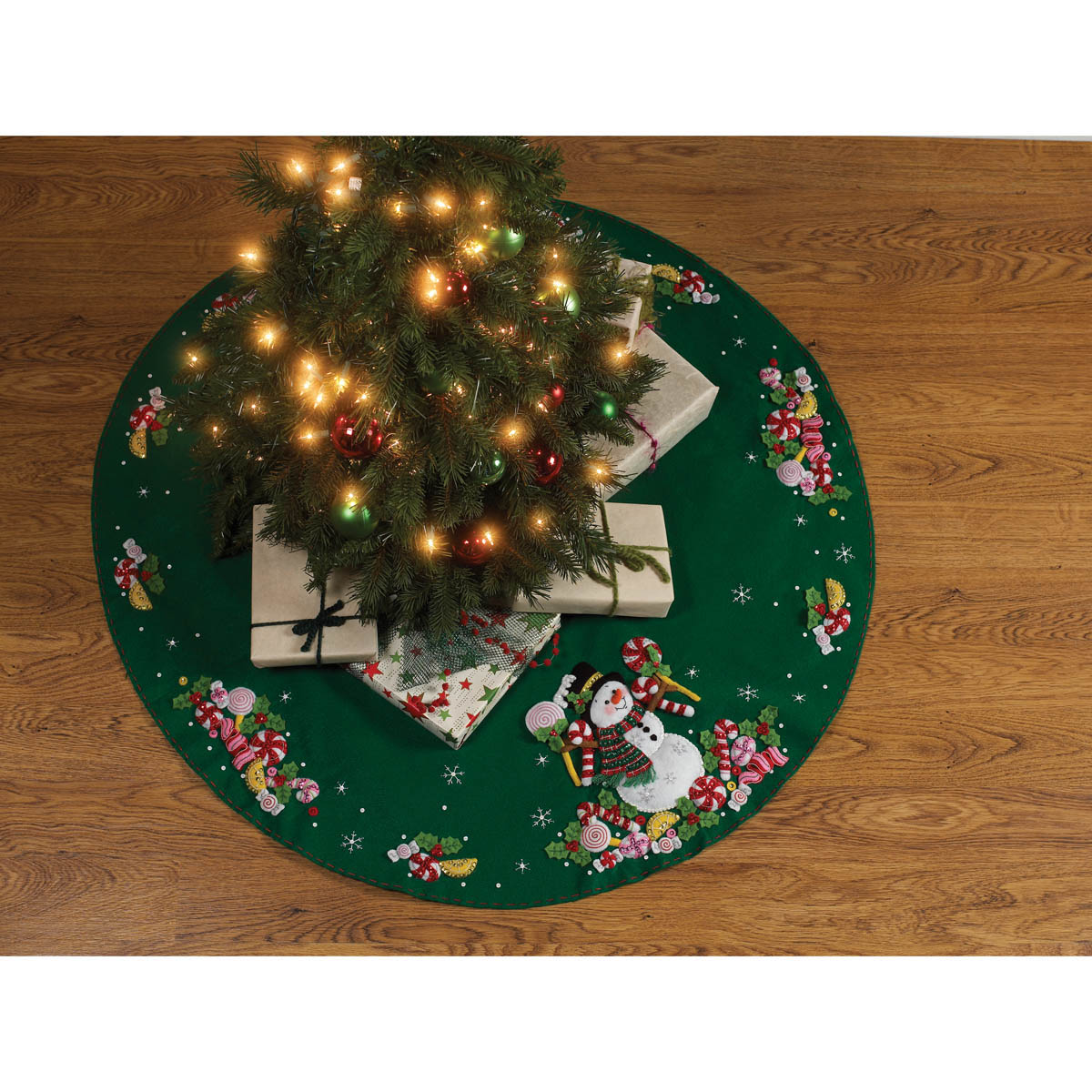 Bucilla ® Seasonal - Felt - Tree Skirt Kits - Candy Snowman - 86307