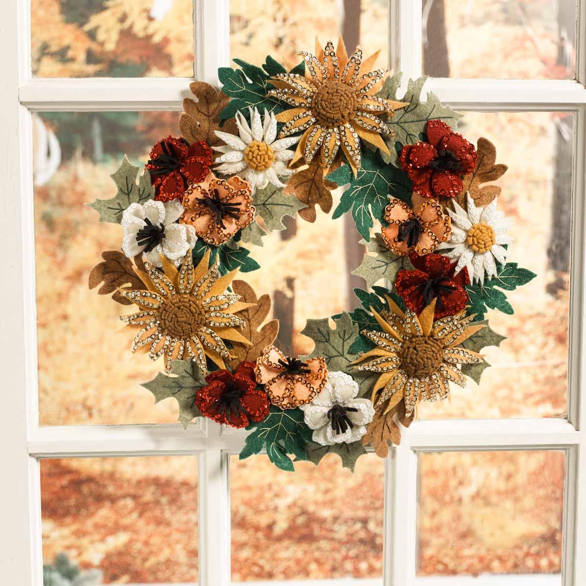 Bucilla ® Seasonal - Felt - Home Decor - Floral Fall Wreath - 89278E