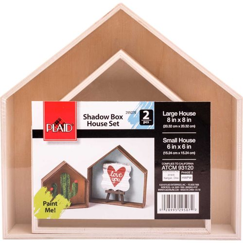 Plaid ® Wood Surfaces - Shadowbox Houses, 2 pc.