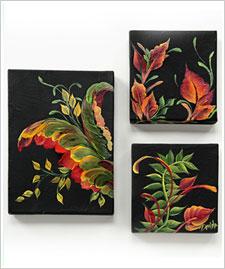 FolkArt® One Stroke™ Contemporary Leaf Scroll Canvas Trio