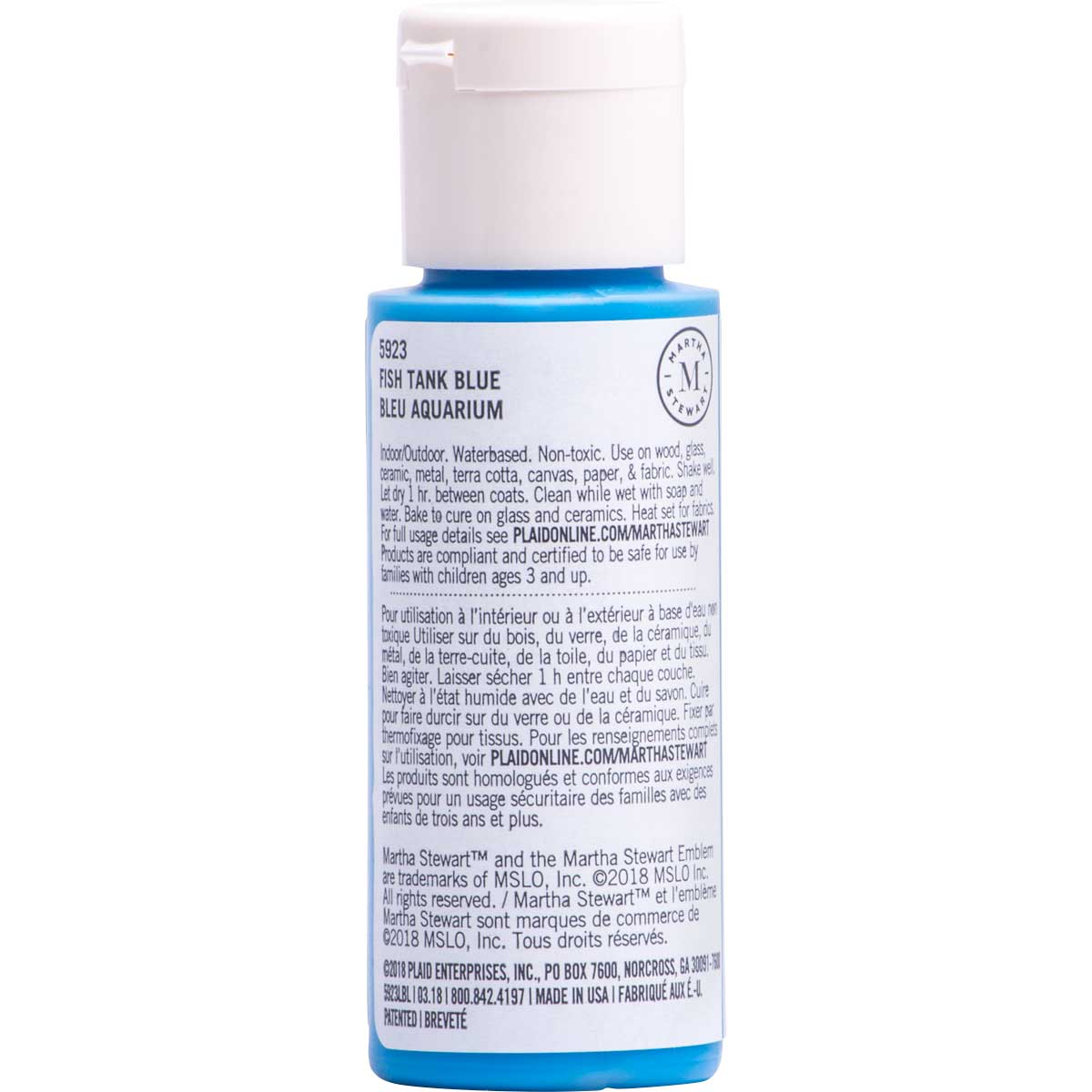 Martha Stewart ® Multi-Surface Satin Acrylic Craft Paint CPSIA - Fish Tank Blue, 2 oz. - 5923
