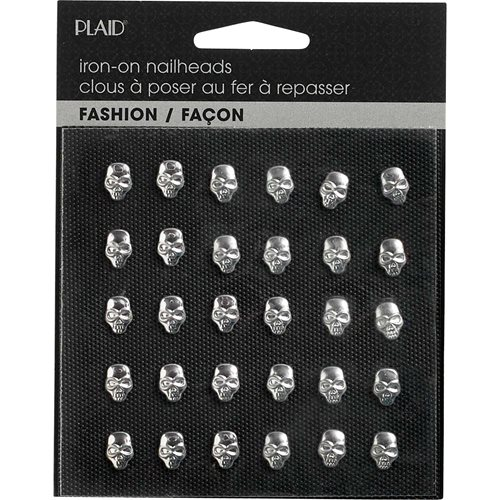 Plaid ® Hot Fix Nailhead Iron-Ons - Skulls Shiny Silver