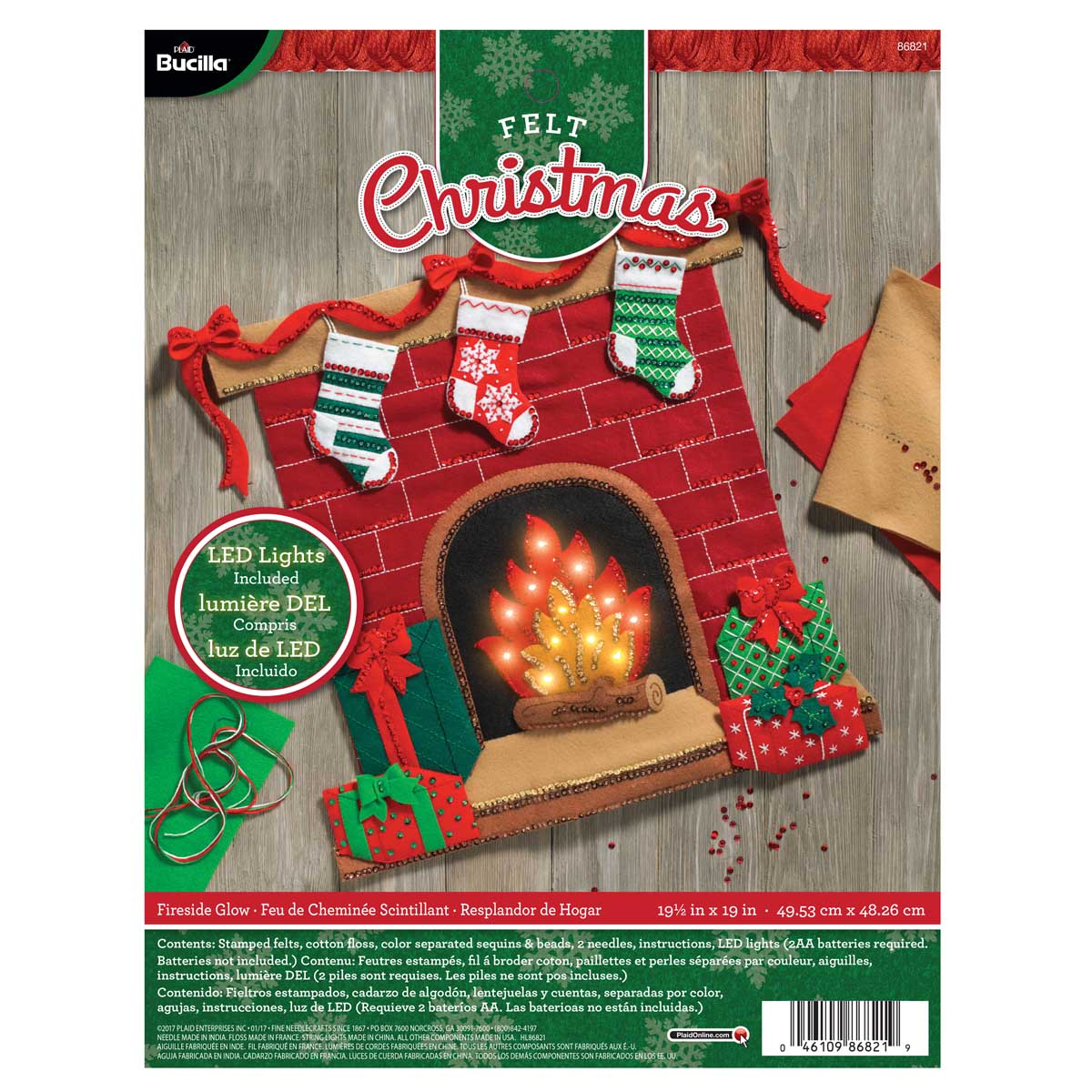 Bucilla ® Seasonal - Felt - Home Decor - Fireside Glow Wall Hanging with Lights - 86821