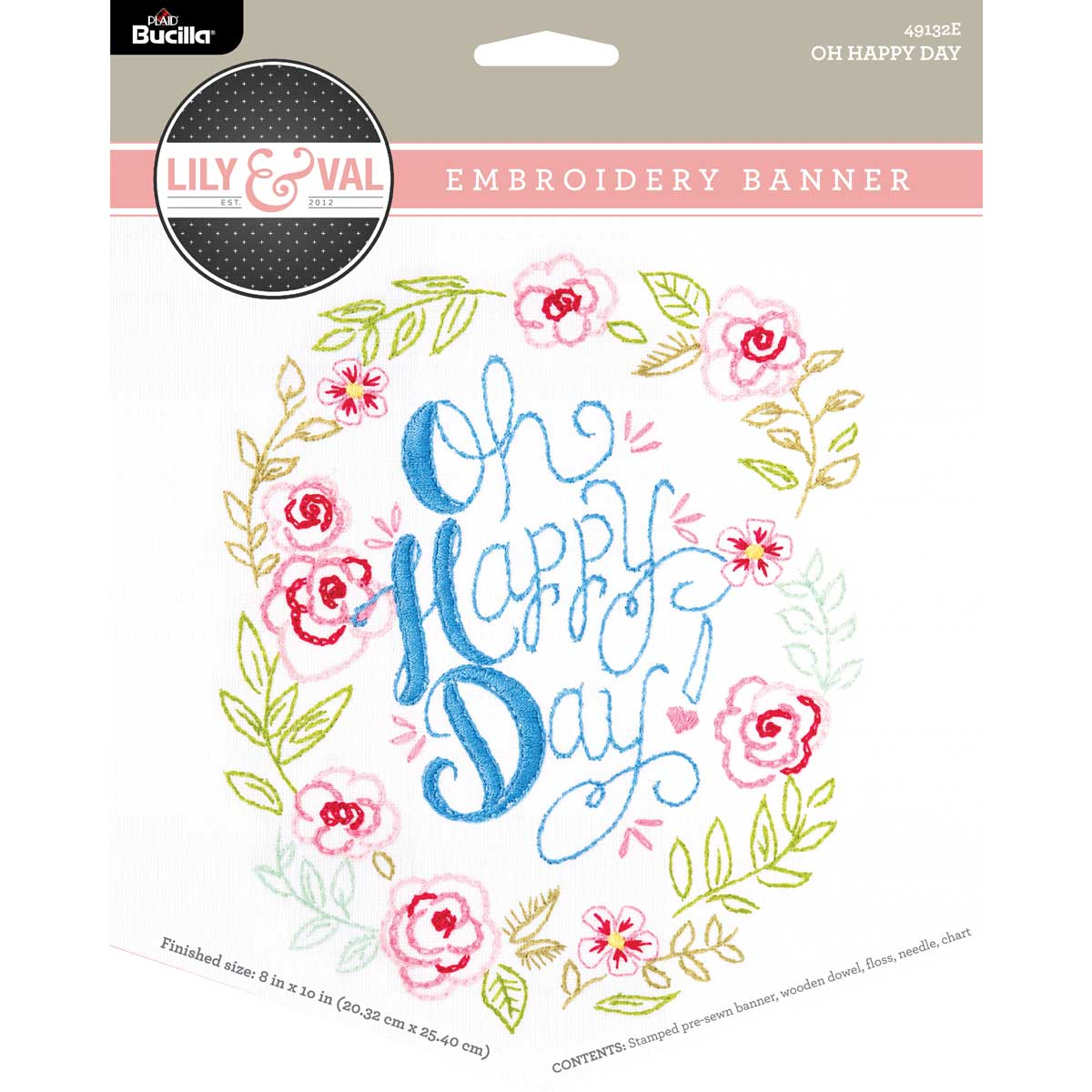 Bucilla ® Lily & Val™ Stamped Emboidery - Banners - Oh Happy Day - 49132E