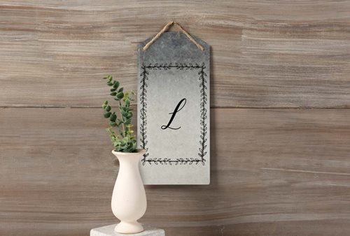 Rectangular Wreath Monogram Tin Sign