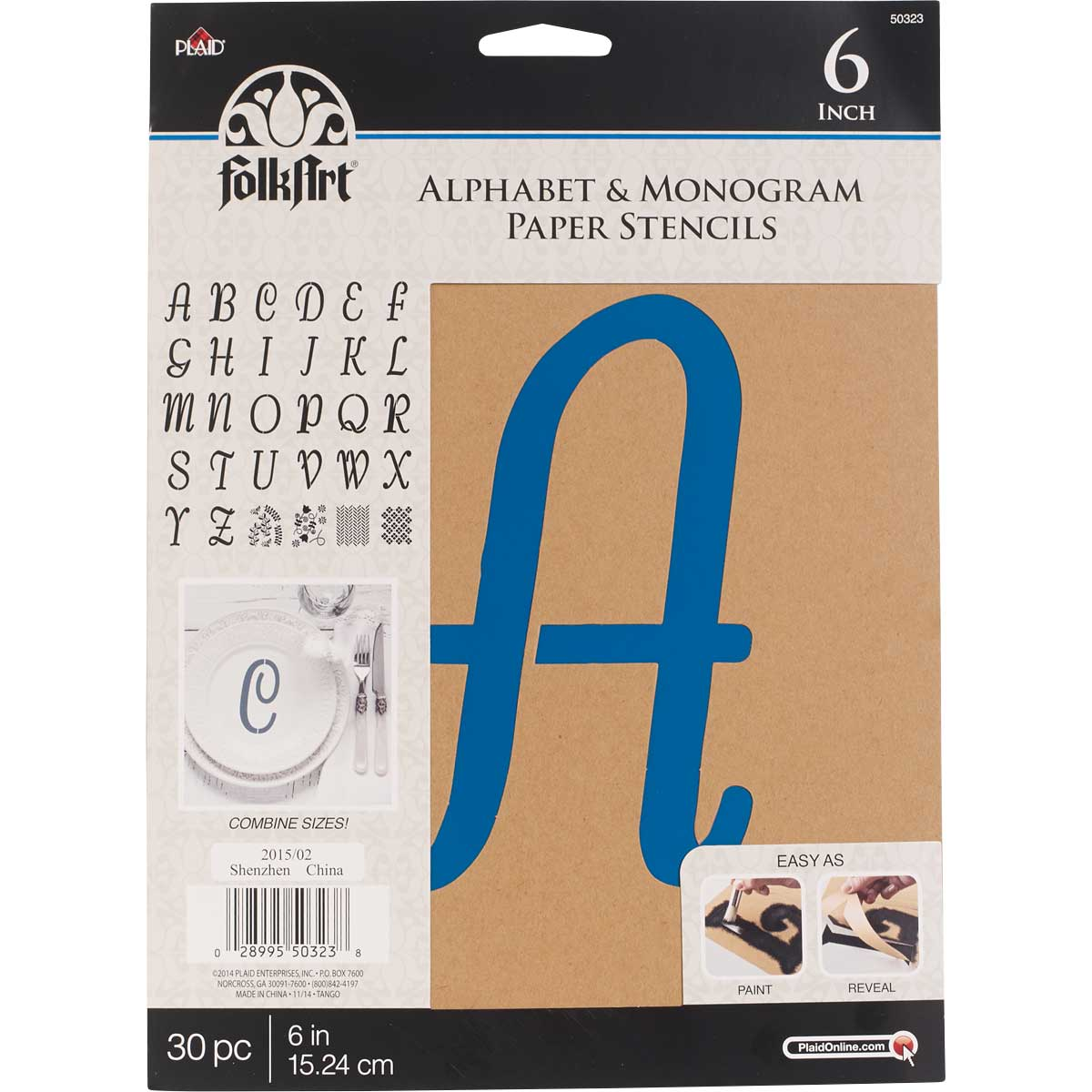 FolkArt ® Alphabet & Monogram Paper Stencils - Italic Font, 6