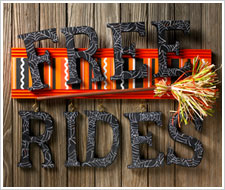 Free Broom Rides Sign