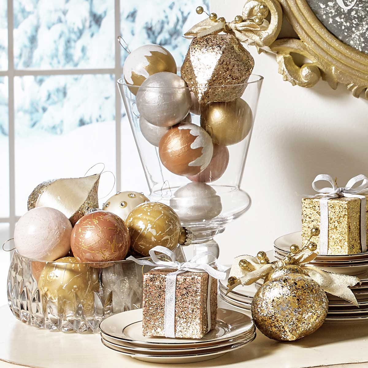 DIY Gold Holiday Ornament Set