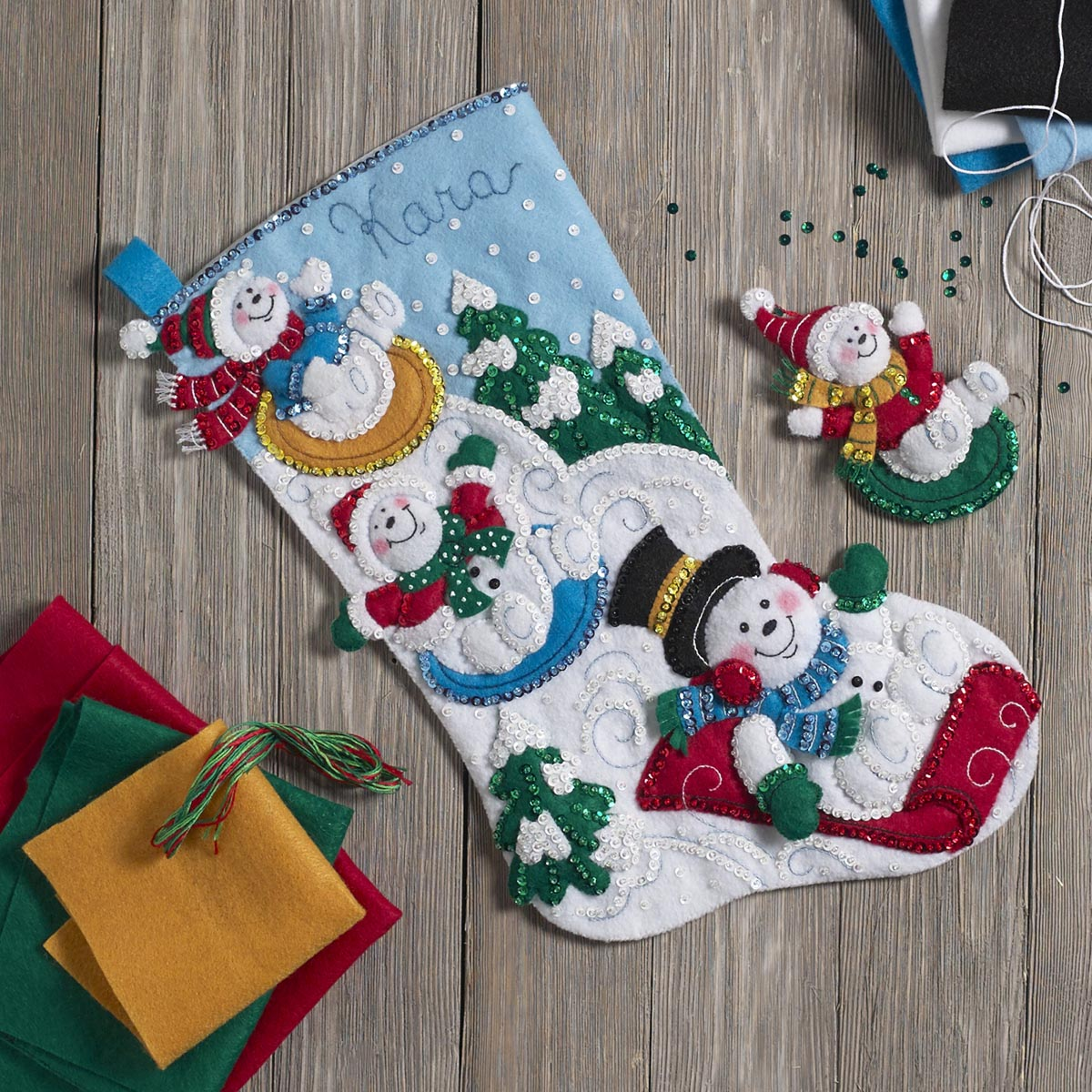 Bucilla ® Seasonal - Felt - Stocking Kits - Snowday Fun Day