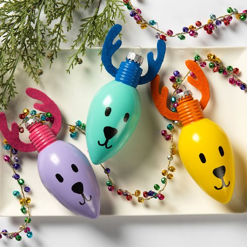 Reindeer Light Bulb Ornaments