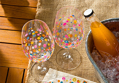 Bright Spring Confetti Glasses and Plate