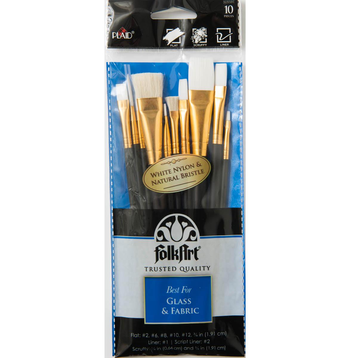 Folkart ® Brush Sets - Glass and Fabric Set, 10 pc.