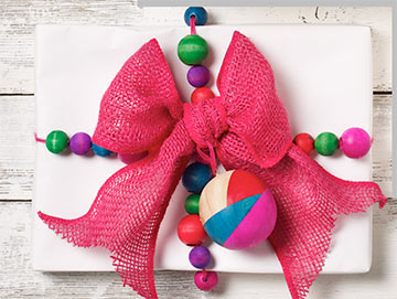 Easy DIY Holiday Ornament Idea - Wood Beads and Large Ball Ornament