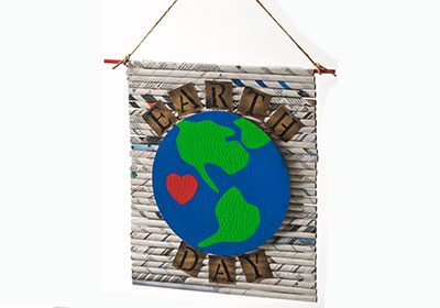 Earth Day Recycled Newspaper Sign