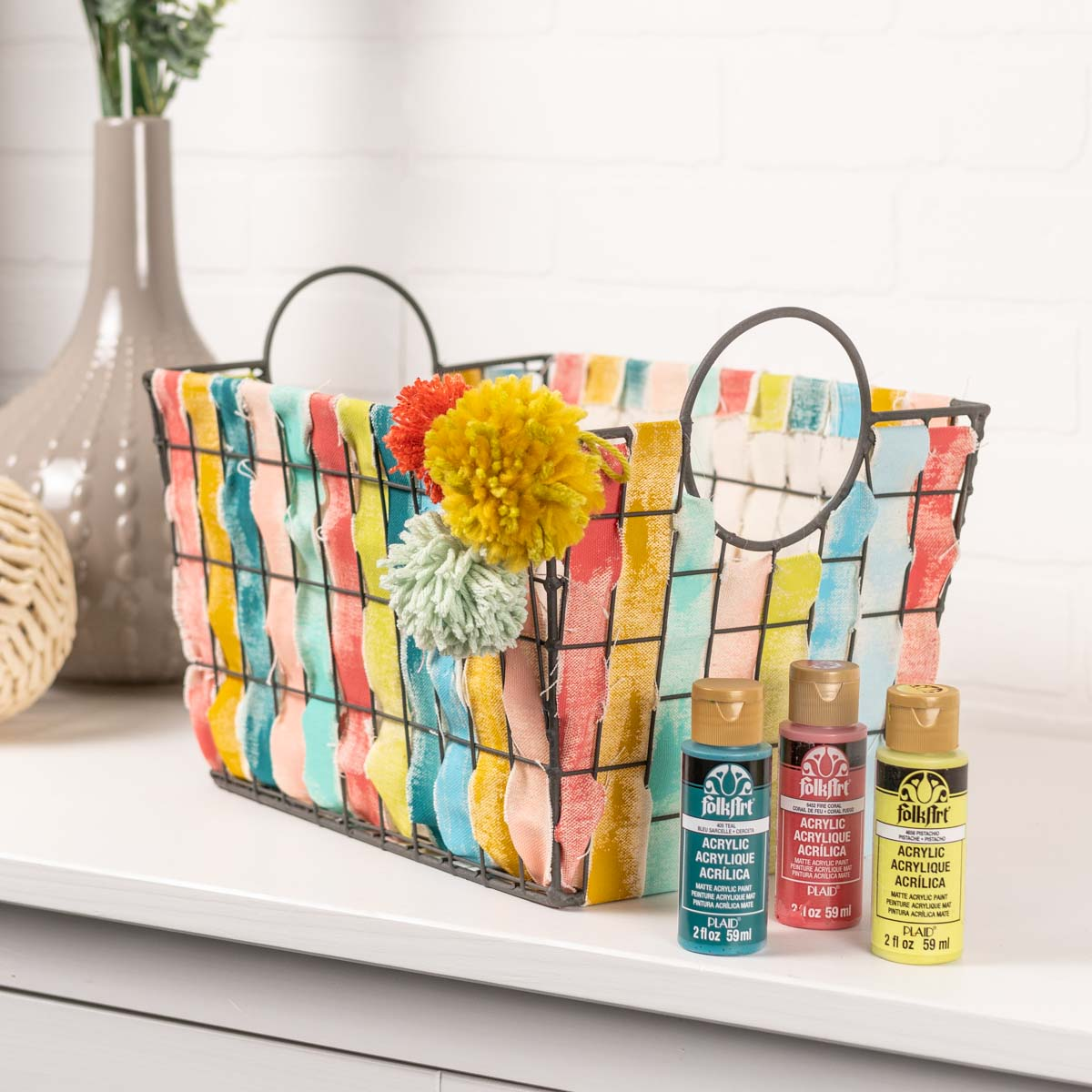 Metal Crate Threaded with Painted Fabric
