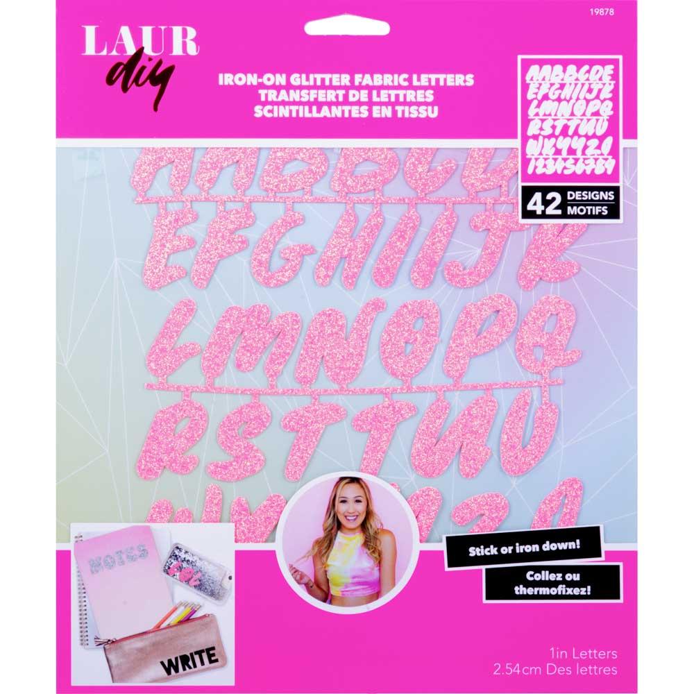 LaurDIY ® Iron-on Glitter Fabric Letters - Sweetie Pie