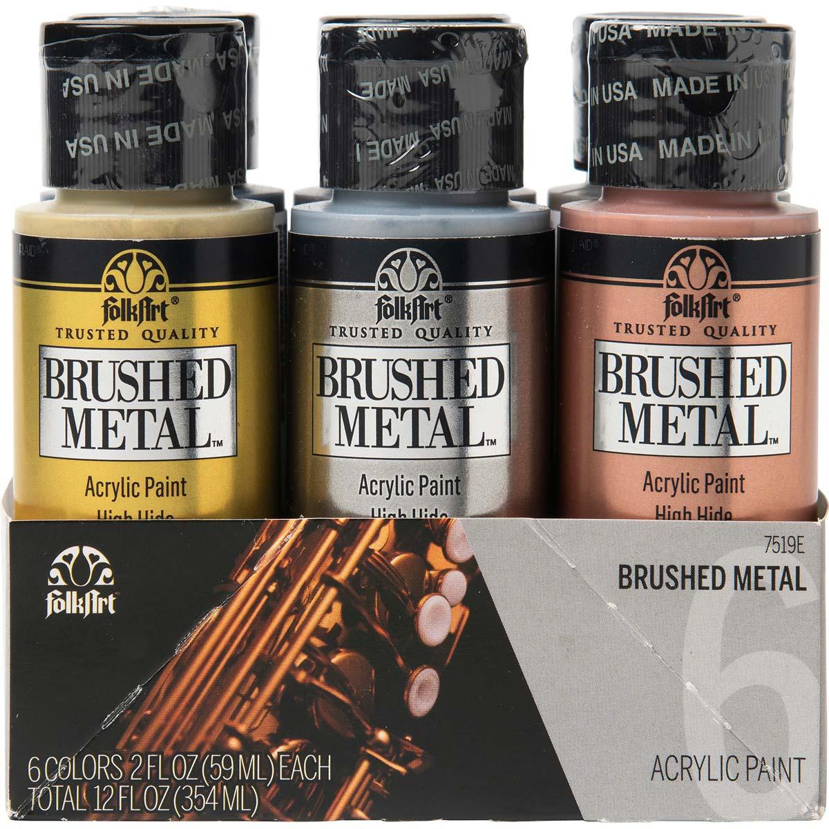 FolkArt ® Brushed Metal™ Acrylic Paint Set 6 Color - 7519E