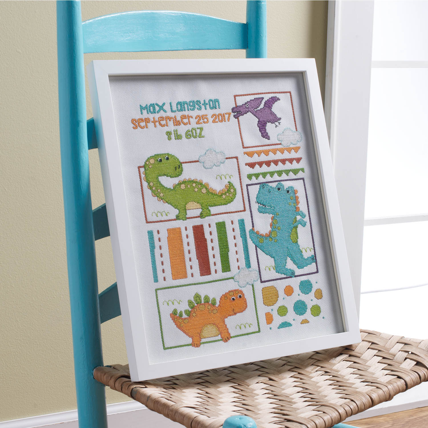 Bucilla ® Baby - Counted Cross Stitch - Crib Ensembles - Dino Baby - Birth Record Kit