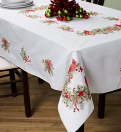 Bucilla ® Seasonal - Stamped Cross Stitch - Table Ensembles - Cardinals - Tablecloth, 52 x 70