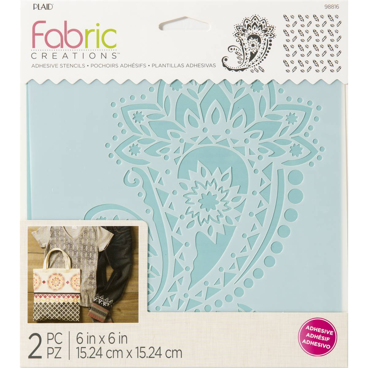 Fabric Creations™ Adhesive Stencils - Paisley, 6