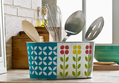 Retro Floral Kitchen Container with FolkArt Multi-Surface