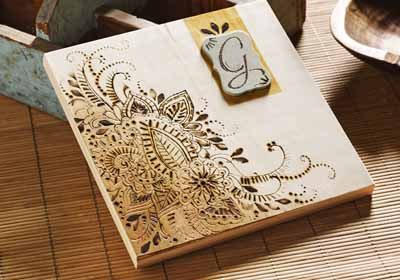 Monogram Paisley Wood Burned Canvas