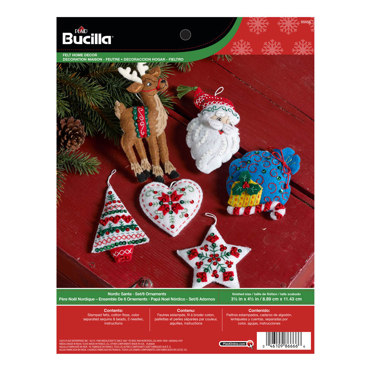 bucilla seasonal felt ornament kits nordic santa