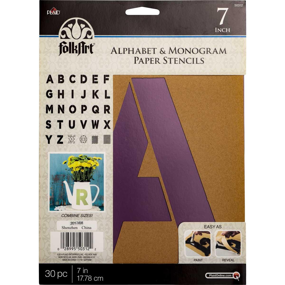 FolkArt ® Alphabet & Monogram Paper Stencils - Bold Font, 7