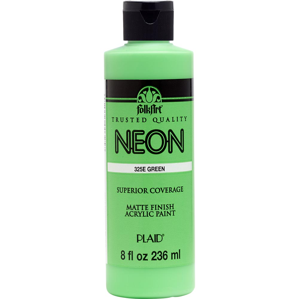 FolkArt ® Acrylic Colors - Fluorescent Glow - Neon Green, 8 oz.