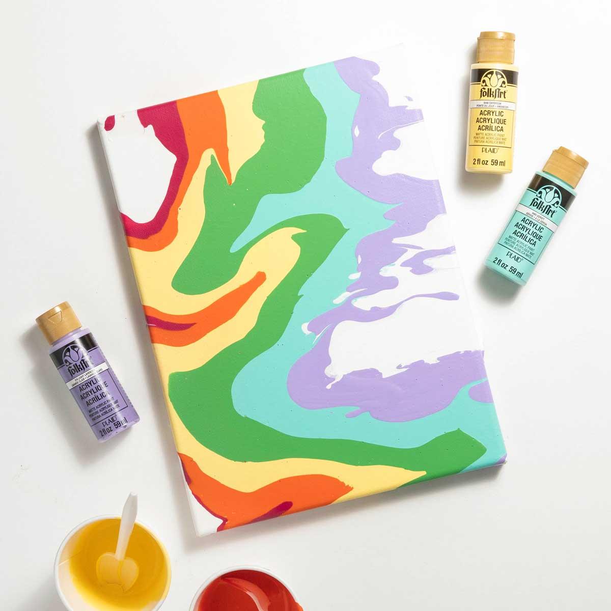 Easy Abstract Art Canvas DIY Idea