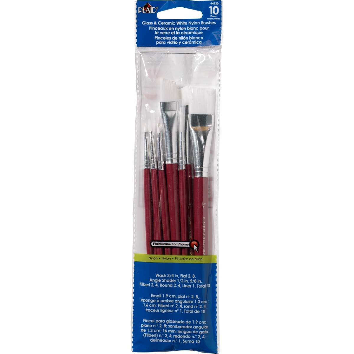 Plaid ® Brush Sets - Basic Brush Set, White Nylon