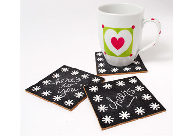 Chalkboard Cork Coasters with FolkArt Multi-Surface Paints