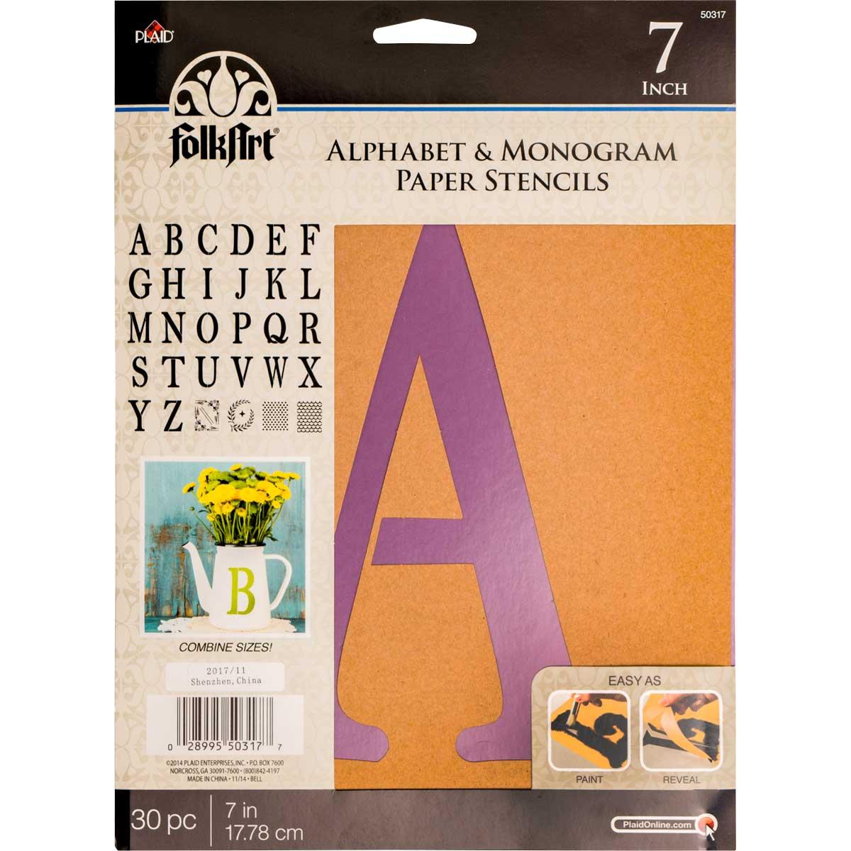 FolkArt ® Alphabet & Monogram Paper Stencils - Serif Font, 7